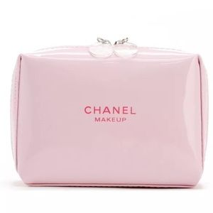 NEW CHANEL Pink Patent Leather Makeup Pouch Bag